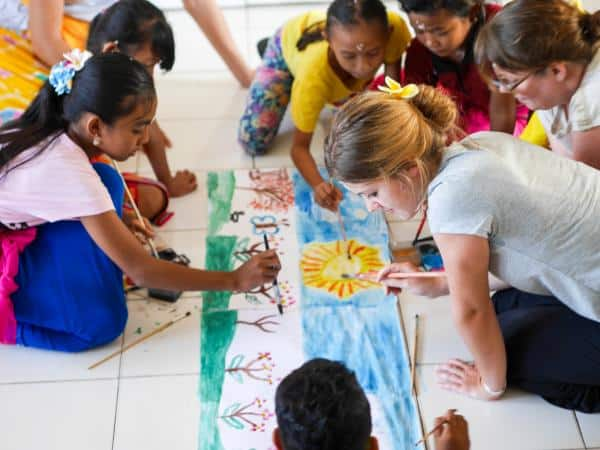 Creative learning at Volunteer Programs Bali. Education through play.