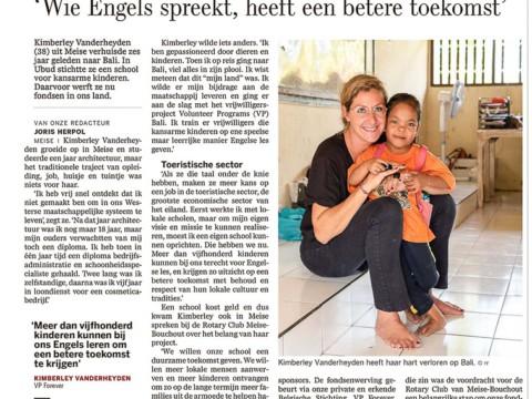 Press coverage Volunteer Programs Bali 2019 - De Standaard - Belgium